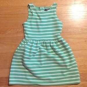 Gap Kids Girls Green White Stripe Dress Size S 6-7